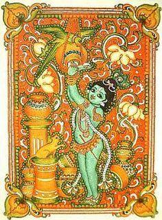 Kerala Mural krishna the butterthief in indian folk art style Kalamkari Painting, Madhubani Painting, Krishna Painting, Traditional Paintings, Traditional Art, Kerala Mural Painting, Worli Painting, Fabric Painting, Color Symbolism