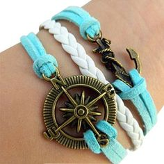 price:9.99usd Feature: Anchor & Helm Pendant  Style: Navy Style/Retro  Material: Alloy/Leather  Color: As picture
