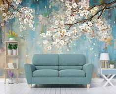 Floral Wallpaper Peach Blossom Wall Mural Watercolor Painting Wall Art Flower Wall Art Natural Home Decor Living Room Bedroom - interiors Bedroom Murals, Bedroom Decor, Bedroom Interiors, Bedroom Sets, Girls Bedroom, Living Room Murals, Master Bedroom, Living Room Themes, Living Spaces