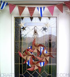 Patriotic Pinwheel Wreath and matching Pennant