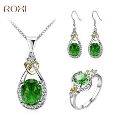 2017 ROXI Charms Long Necklace Green Rhinestones Heart to Heart White Gold Color Pandent Chain Gift for Women Fashion Jewelry #Affiliate