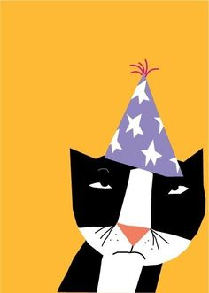 cranky cat birthday card by LizzyClara on Etsy, $3.50