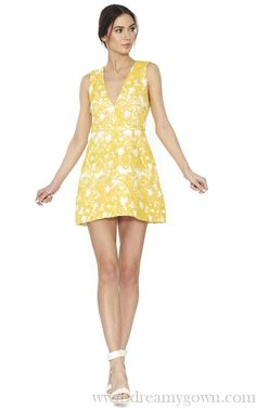 Alice and Olivia Pacey V Neck Lantern Cocktail Dress