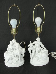 Pair of Vintage Dresden Bisque Figural Table Lamps Parian