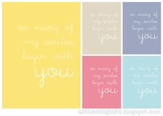 So many of my smiles begin with you - free 5x7 printables