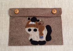 Cute horse brown felt clutch,felt pouch,horse felt purse,unisex gift,hand…