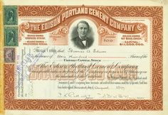 #Edison Portland Cement Company State of New Jersey, 19 August 1899, 100 Shares à US-$ 50, #70, 20.7 x 29.7 cm, red-brown, black, punched, devaluated by stamp, portrait vignette of Thomas Alva Edison, issued to Thomas Alva Edison and signed by him on the backside (signature faded).