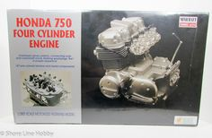 This Honda 750 Four Cylinder Engine model kit is made by Minicraft in scale. - 187 pre-colored styrene and metal components - Overhead valves, pistons, conn Motorcycle Model Kits, Honda 750, Electric Motor, Scale, Engineering, Metal, Ships, Fire, Business