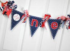 Shabby Chic Rag Flag Fabric Baseball High Chair ONE Banner - Baseball Photo Prop - Navy Blue Red White Birthday Party Cake Smash Decor