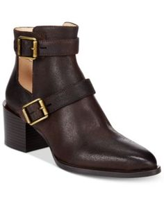 Nine West Evalee Buckle-Trim Block-Heel Booties $125.00 Nine West's Evalee booties add a sleek pointed toe and block heel to classic moto style with strap and buckle details for a go-to look.