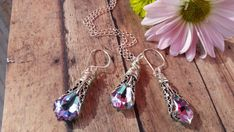 Alexandrite Necklace & Earrings with Swarovski Crystals Fall gifts Fall Gifts, Summer Gifts, Christmas Gifts, Alexandrite Jewelry, Purple Necklace, Wedding Sets, Chic Wedding, Blue Wedding, Swarovski Crystal Earrings