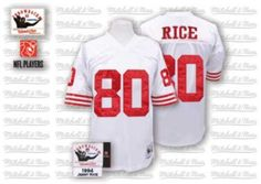 Nike Mitchell and Ness San Francisco 49ers http://#80 Jerry Rice White Throwback Authentic NFL Jersey$109.99