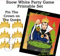 """Snow White """"Pin the Crown On The Evil Queen' Birthday Party Game - Instant Download  Princess Themed SALE!!"""