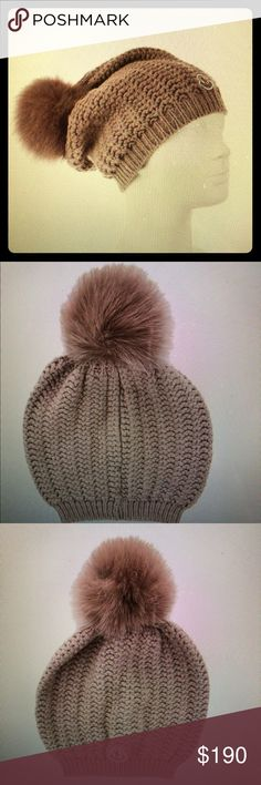 MONCLER Pom Pom hat BRAND NEW Brand new never used or worn Moncler fur Pom Pom hat. Nice for fall or winter. Gorgeous lush fur and a beautiful knitted beanie can be styled in different ways with different outfits.   Greyish/Brown color, almost like a like taupe. Moncler Accessories Hats