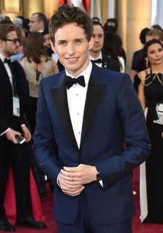 Nominee for Best Actor Eddie Redmayne poses on the red carpet for the 87th Oscars in Hollywood, California.