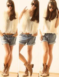 jeans + colete de pelos + coturno