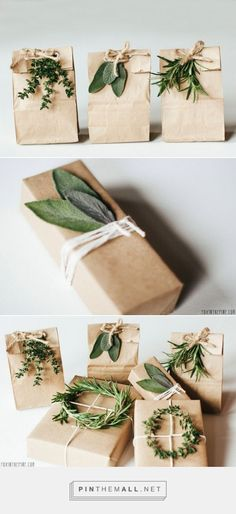 brown paper, twine, and greenery