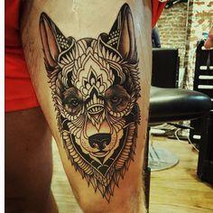 akita inu dog design tattoo