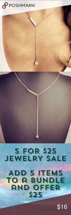 5for$25 Y Shape Bar Crystal Necklace Gold color Y shape bar and crystal necklace Jewelry Necklaces