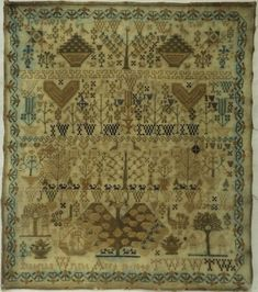 MID 19TH CENTURY DOUBLE ADAM & EVE & MOTIF SAMPLER BY ISABELLA WRIGHT - 1845