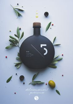 Five Olive Oil #packaging design by Pierrick Allan (projet étudiant pour l'école CREA Geneva)