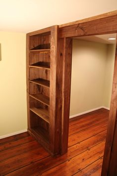 Walnut Bookcase Wall And Door Been Considering Walling Off The Gun Safe Area