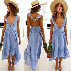 Ruffle Striped Casual Beach Dress Deep V Neck Sexy Backless-Ruffle Striped Casual Beach Dress Deep V Neck Sexy Backless Maxi Dress Ruffle Striped Casual Beach Dress Deep V Neck Sexy Backless Maxi Dress – GaGodeal - Backless Maxi Dresses, Beach Dresses, Casual Dresses, Spring Dresses, Boho Summer Dresses, Summer Maxi, Dress Beach, Vacation Dresses, Linen Dresses