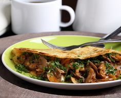 Olives for Dinner | Vegan Recipes and Photography: Coconut-Chickpea Crepes with Smoky Herbed Mushrooms