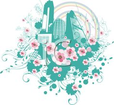 iCLIPART - Skyscrapers with Flowers Illustration