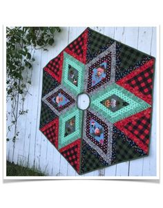 Hexie Homies - Rustic Holiday Tree Skirt & Throw featuring Holiday Homies by Tula Pink