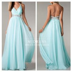 Tiffany blue prom dress Sexy halter prom dresses party by MJDRESS, $115.00