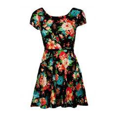 Black Floral Open Back Knotted Dress (74 BRL) ❤ liked on Polyvore featuring dresses, vestidos, short dresses, flower design dresses, open back short dresses, flower print dress and floral design dresses