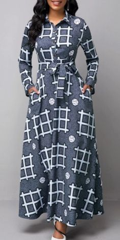 Turndown Collar Geometric Print Long Sleeve Dress - Source by - Latest African Fashion Dresses, African Dresses For Women, African Print Fashion, Latest African Styles, Ankara Fashion, Africa Fashion, African Attire, African Prints, African Fabric