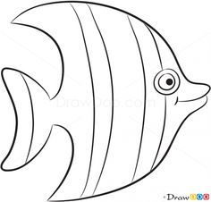 How to Draw Striped Fish, Sea Animals Fish Patterns, Applique Patterns, Craft Patterns, Water Patterns, Applique Ideas, Kindergarten Collage, Colouring Pages, Coloring Books, Summer Crafts