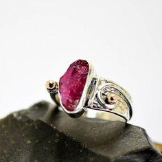 Ruby ring sterling silver rough gemstone ring handmade