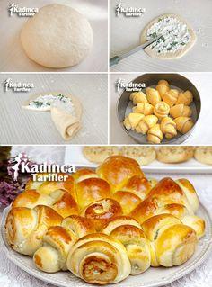 Kalıpta Peynirli Çiçek Ekmek Tarifi Turkish Recipes, Holiday Tables, Food Art, Food And Drink, Healthy Eating, Bread, Cookies, Baking, Desserts