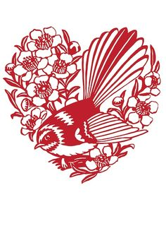 "Papercut and Lace series:  ""Fantail and Manuka"" by Henri Stone   ...bird and flower native to New Zealand..."