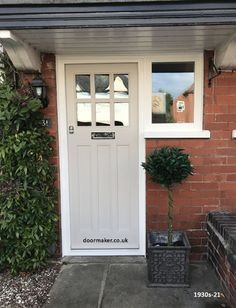 6 Pane Door with 3 Flush Timber Panels and Frame with Side Window - Front Door Ideas Cottage Front Doors, Victorian Front Doors, Front Door Porch, Front Doors With Windows, House Front Door, 1930s House Exterior, House Exteriors, 1930s Doors, Cosmos