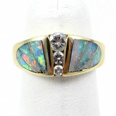 18k Yellow Gold, 0.27ct Diamond and Opal Inlay Band Ring Size 5 in Gemstone | eBay
