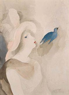 Jeune fille à l'oiseau bleu, Marie Laurencin. French (1883 - 1956)