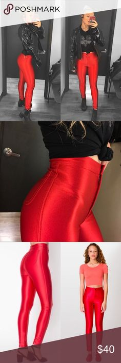 AA disco pants Fire for your legs! These shiny bbys are perfect for a concert or any day you're feelin a lil extra groovy. This color is no longer being sold so grab em while you can! They're in great condition, aside from a tiny pen mark that's not rly noticeable. Make an offer😘 American Apparel Pants