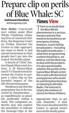 CREATE AWARENESS ON DANGER GAME BLUE WHALE AND AIR PROGRAM IN DOORDARSHAM ABOUT IT DANGERS: SUPREME COURT  #legalservicesinHyderabad #legalconsultanciesinHyderabad
