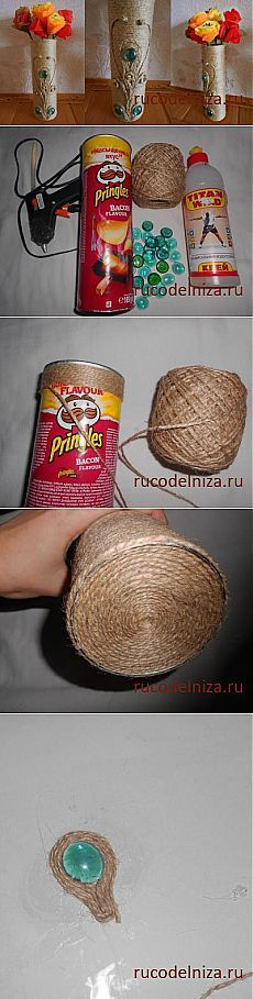 Master classes: needlework, cookery of the diary\' of VAZ from a twine and packing of Pringles // ALLA AVERINA Hobbies And Crafts, Diy Crafts To Sell, Easy Crafts, Easy Diy, Crafts For Kids, Bottle Art, Bottle Crafts, Pringles Can, Twine Crafts