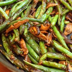 Stir-Fried Szechuan Green Beans & Shiitake Mushrooms Recipe Side Dishes with soy sauce, water, dry sherry, sesame oil, sugar, corn starch, red pepper flakes, dry mustard, vegetable oil, green beans, shitake mushroom, garlic cloves, fresh ginger