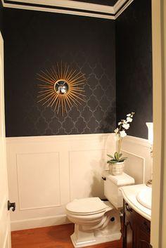 Powder room...  White tile at standard height + wallpaper?