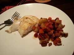 Seared halibut in lemon olive oil with glazed carrots and pears.
