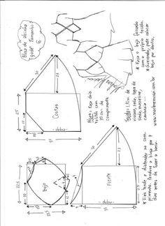 Esquema de modelagem de blusa de alcinha godê tamanho G.