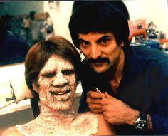 Creepshow - Behind the scenes photo of Tom Savini & Ted Danson Scary Movies, Good Movies, Tom Savini, Makeup Masters, George Romero, Horror Icons, Horror Films, Horror Art, Horror Makeup