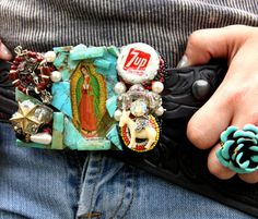 HAndmade from 100% recycled goods! These TuRquoise GuADalupe ReVival buckles are true works of art! HaNDCRAFTED in Oklahoma by fleamarket friends of the gypsies!!!!  each buckle will vary slightly, each is gorgeous!