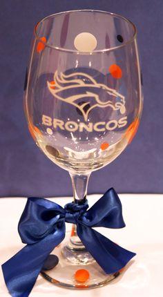 Denver Broncos Wine Glass. $12.00, via Etsy. Like 6, please. :)